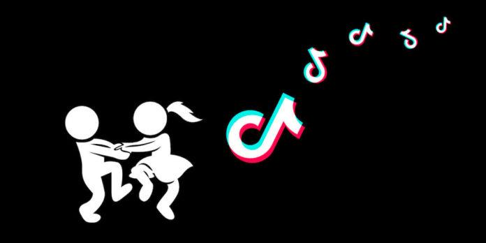 Нарисованные человечки танцуют рядом с логотипом ТикТок