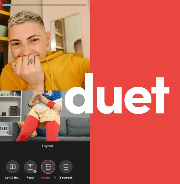 Скриншот с Дуэтом из ТикТок и надписью duet